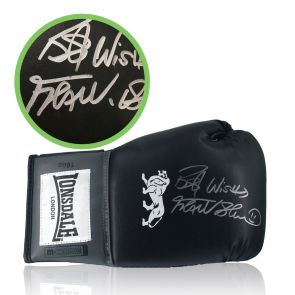 Frank Bruno Signed Black Boxing Glove. Damaged Stock B