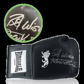 Frank Bruno Signed Black Boxing Glove. Damaged Stock D