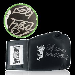 Frank Bruno Signed Black Boxing Glove. Damaged Stock E