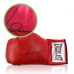 Anthony Joshua Signed Red Boxing Glove. Damaged A