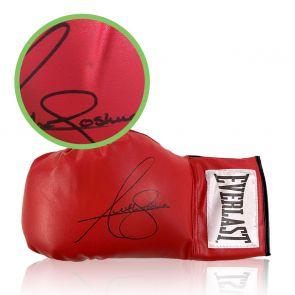 Anthony Joshua Signed Red Boxing Glove. Damaged B