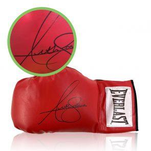 Anthony Joshua Signed Red Boxing Glove. Damaged C