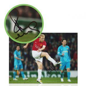 Paul Scholes Signed Manchester United Photo: Barcelona Strike. Damaged F
