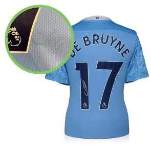 Kevin De Bruyne Signed Manchester City Shirt. 2020-21. Damaged Stock A
