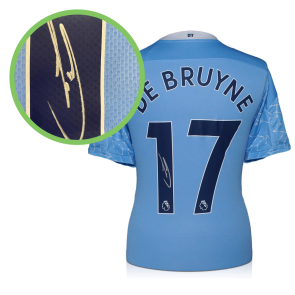 Kevin De Bruyne Signed Manchester City Shirt. 2020-21. Damaged Stock B