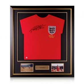Sir Geoff Hurst Signed England 1966 World Cup Shirt. Deluxe Framed