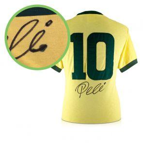 Pele Signed Brazil Football Shirt: Number 10. Damaged D
