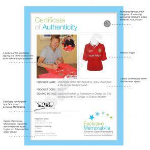 Teddy Sheringham & Ole Gunnar Solskjaer Signed Manchester United Shirt With Goal Times