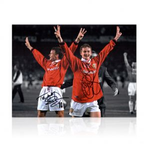 Signed Sheringham & Solskjaer Photo