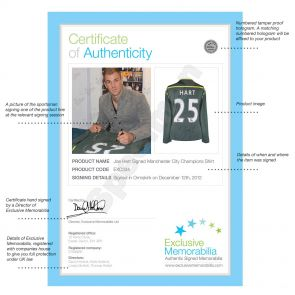 Deluxe Framed Joe Hart Signed Manchester City Football Shirt (Silver Inlay)