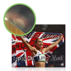 Jessica Ennis-Hill Signed 2012 Olympics Photograph: Union Flag. Damaged