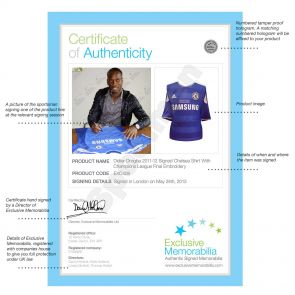 Deluxe Framed Didier Drogba Signed Chelsea 2012 Champions League Final Shirt (Silver Inlay)