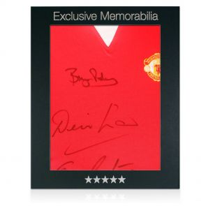Man Utd jersey signed by Robson, Law, Ronaldo, Cantona Scholes. In gift box