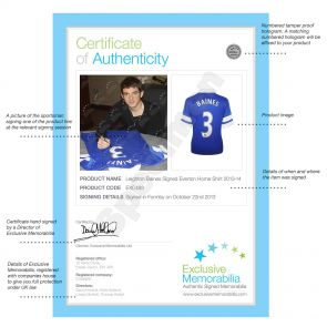 Deluxe Framed Leighton Baines Signed 2013-14 Everton Football Shirt (Silver Inlay)