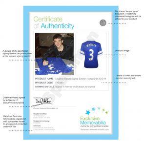Silver Framed Leighton Baines Signed 2013-14 Everton Football Shirt