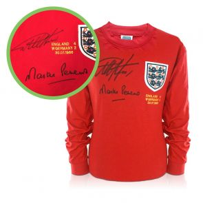 Geoff Hurst And Martin Peters Signed England 1966 Shirt - Damaged Stock F