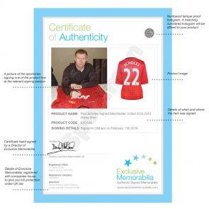 Silver Framed Paul Scholes Manchester United 2012-13 Football Shirt