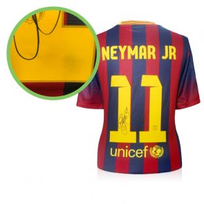 Neymar Jr Signed Barcelona 2013-14 Football Shirt - Damaged Stock