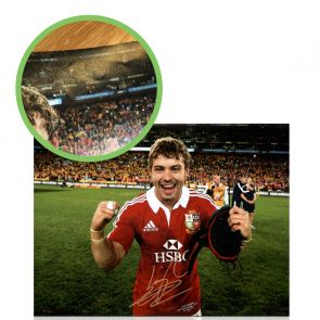 Leigh Halfpenny Signed British Lions Rugby Photo: Victory In Australia. Damaged B