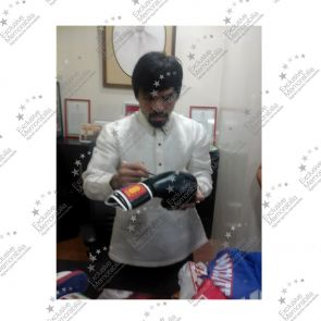Manny Pacquiao Black Boxing Glove Signed In Silver Pen