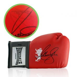 Anthony Joshua Signed Red Boxing Glove - Damaged Stock F
