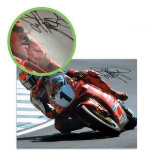 Carl Fogarty Signed Superbikes Photo: Cornering At Brands Hatch. Damaged A