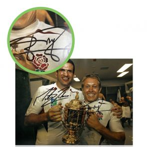 Jonny Wilkinson & Martin Johnson Signed Rugby World Cup Photo. Damaged A