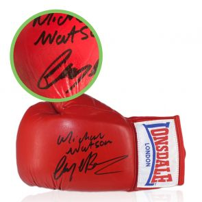 Nigel Benn And Michael Watson Signed Boxing Glove - Smudged Stock