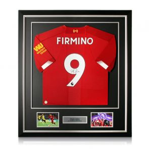 Roberto Firmino Signed Liverpool Shirt. Framed