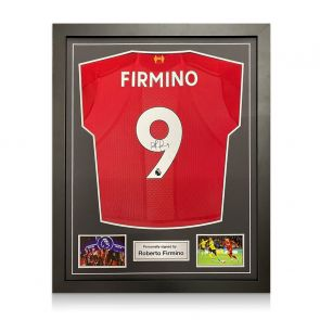 Roberto Firmino Signed Liverpool Shirt. Standard Frame
