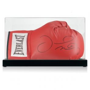 Floyd Mayweather Signed Red Boxing Glove. In Display Case