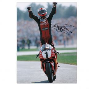 Carl Fogarty Signed Superbikes Photo: Celebration Pose. In Gift Box