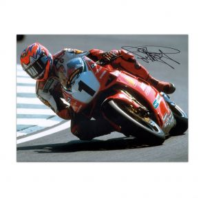 Carl Fogarty Signed Superbikes Photo: Cornering At Brands Hatch. In Gift Box