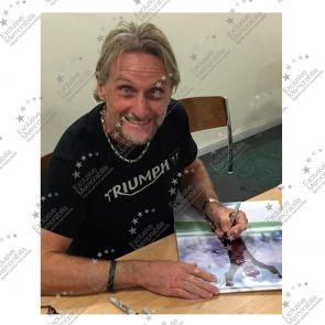Framed Carl Fogarty Signed Superbikes Photo: Celebration Pose