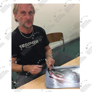 Carl Fogarty Signed Superbikes Photo: Cornering At Brands Hatch