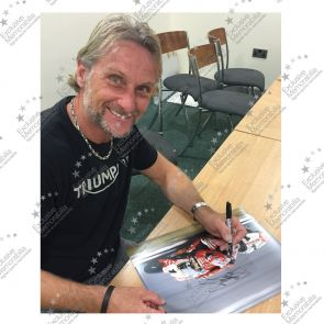 Framed Carl Fogarty Signed Superbikes Photo: Close To The Edge