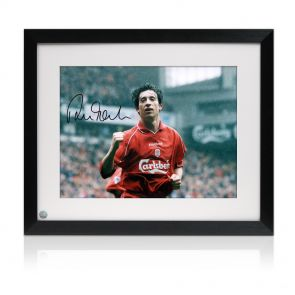 Framed signed Robbie Fowler Liverpool photo