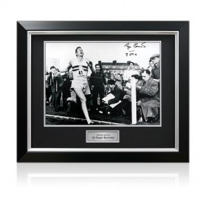 Deluxe Framed Roger Bannister Signed Photograph: With Historic Time Added By Sir Roger