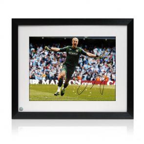 Framed, signed Joe Hart Man City Photo