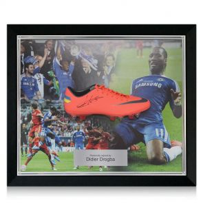 Didier Drogba football boot, signed and framed