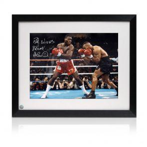 Frank Bruno v Mike Tyson Autographed Framed Photo