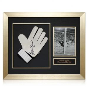 Signed and framed Gordon Banks glove
