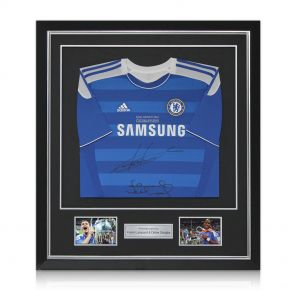 Framed Frank Lampard And Didier Drogba Signed Chelsea 2012 Champions League Final Shirt
