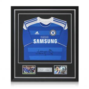 Deluxe Framed Frank Lampard Signed Chelsea 2012 Champions League Final Shirt
