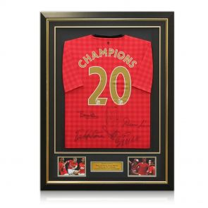 Framed multi-signed Man Utd shirt