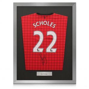Framed Paul Scholes Manchester United Football Shirt