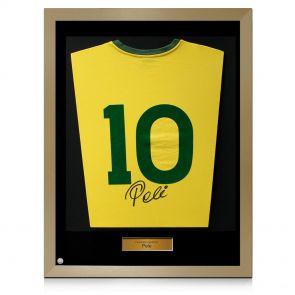 Gold framed Pele signed shirt