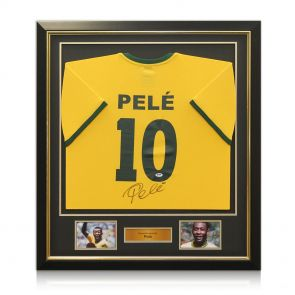 Deluxe Framed Pele Number 10 Brazil Football Shirt With Gold Inlay