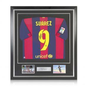 Signed Framed Luis Suarez Barcelona Jersey