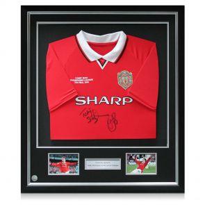 Silver Framed Sheringham Solskjaer Signed Man Utd Shirt